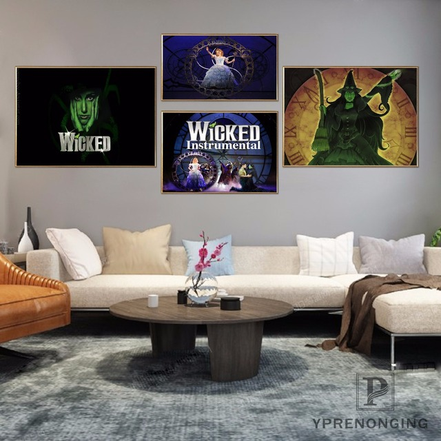 Custom WICKED Musical Broadway Home Decor Canvas Printing Silk Fabric Print Wall Poster No Frame 18031795