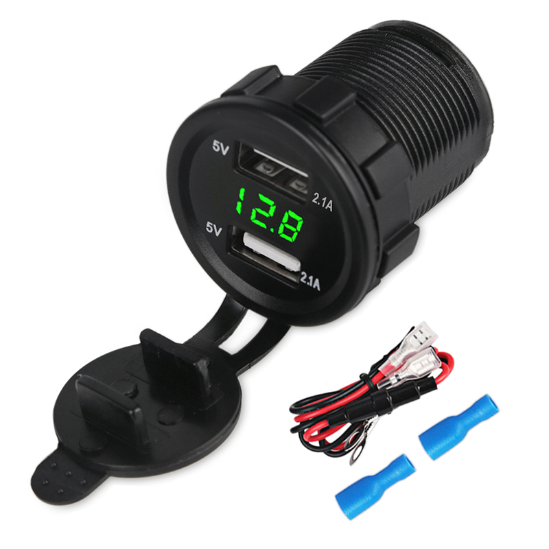 Waterproof 2.1A Motorcycle Car Charger 12V 24V Dual Usb Auto Led Voltmeter Panel Power Adapter Socket Cable With Fuse