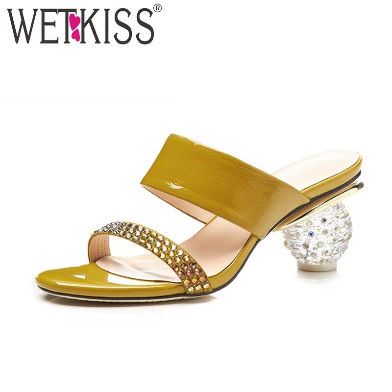 WETKISS 2018 Summer Genuine Leather Slippers Women Mules Open Toe Ladies Slides Shoes Strange Crystal High Heels Footwear Yellow цена