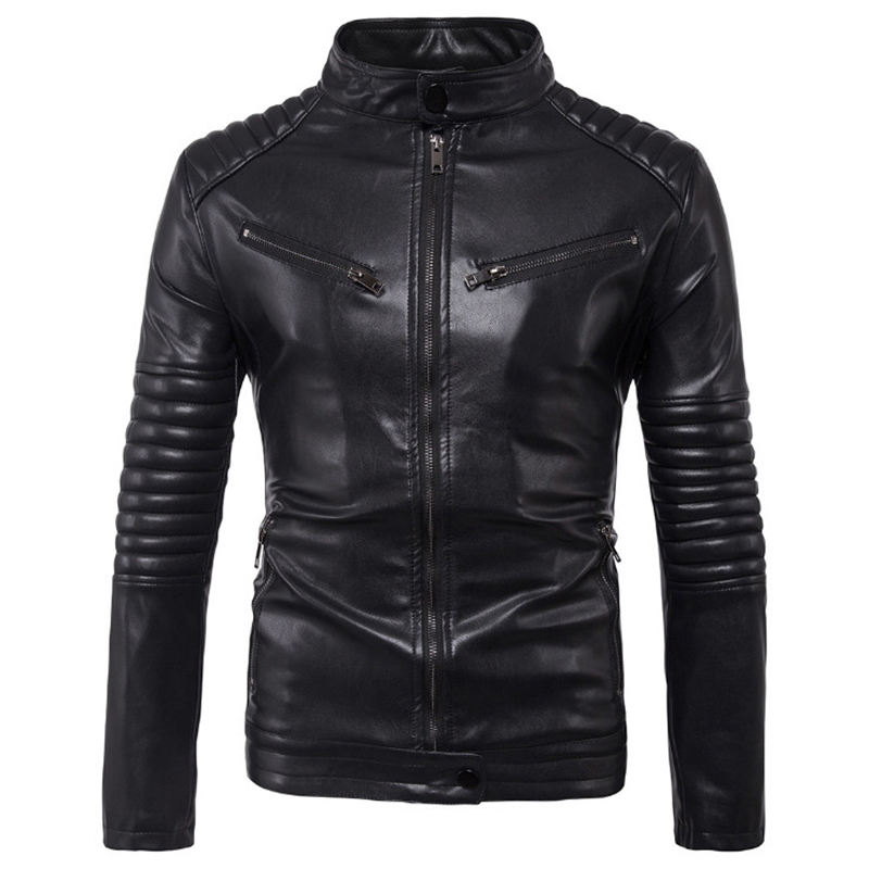 Dropshipping Leather Jacket Men Autumn Slim Fit Faux Leather Jacket Motorcycle Bomber Leather Jackets Coats Big Size 5XL