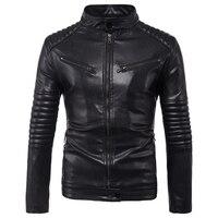 Dropshipping Leather Jacket Men Autumn Slim fit Faux Leather Jacket Motorcycle Bomber Leather Jackets Coats Big Size 5XL