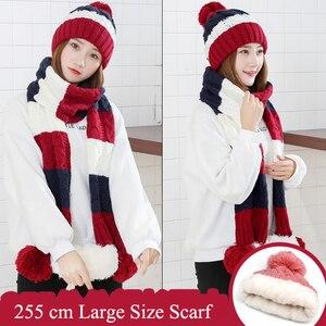 Image 5 - 패션 선물 따뜻한 모직 겨울 여성 모자와 스카프 우아한 스카프 모자 세트 여성 2 종류의 모자 스카프 세트 긴 숙녀 스카프