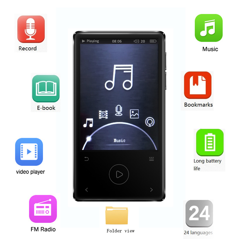 HD Lossless MP3 Player 2.4 Large Screen Support HIFI Sound FM Radio Metal Body 8GB Portable Long Time Play Back IQQ X11