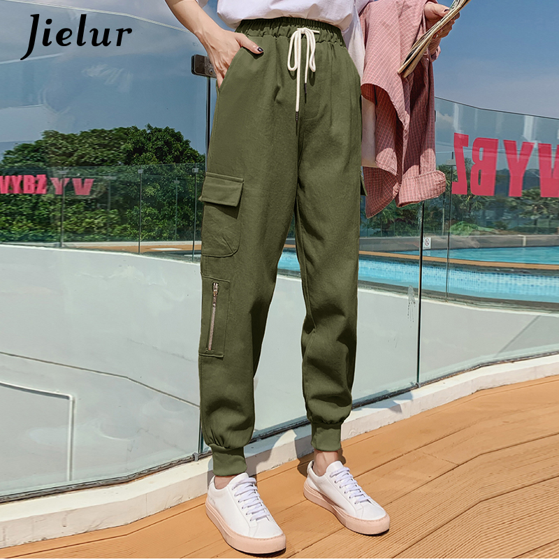 Jielur Cargo   Pants   Women Streetwear Europe Hiphop Loose Pockets   Capri     Pants   Korean Casual Chic Black Green Pantalon Femme S-XXL