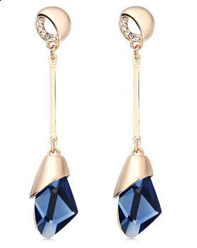 Women's Drop Crystal Earrings Earrings Jewelry Women Jewelry Metal Color: E071 blue