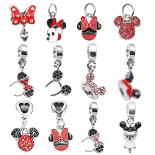 Boosbiy 2pc Cartoon Style Crystal Mickey Minnie Pendant Charm Fit European Fashion Pandora Bracelet DIY Jewelry Making