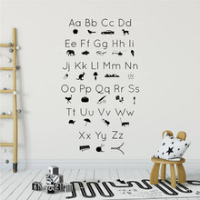 ABC Alphabet Picture Icons Silhouettes Wall Sticker Kidsroom Study Room Decoration Vinyl Art Design Poster Mural for Baby W13