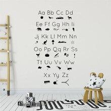 цены на ABC Alphabet Picture Icons Silhouettes Wall Sticker Kidsroom Study Room Decoration Vinyl Art Design Poster Mural for Baby W13  в интернет-магазинах