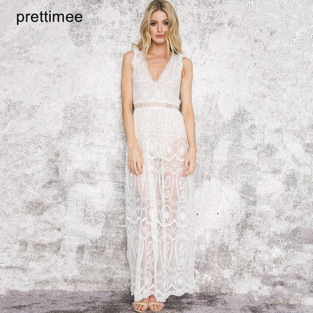 Prettimee Women lace maxi dress Elegant v neck backless white long ...