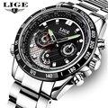 2016 Часы Мужчины Luxury Brand LIGE Полный Нержавеющей стали Спорт Кварцевые Часы Человек Водонепроницаемый Повседневная Кожа Часы relogio masculino