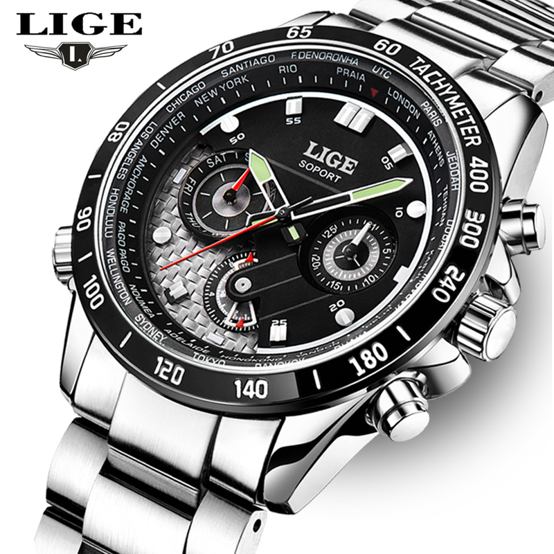 2016 Watches Men Luxury Brand LIGE Full Stainless steel Sport Quartz Watch Man Waterproof Casual Leather Clock relogio masculino top brand luxury watch men full stainless steel military sport watches waterproof quartz clock man wrist watch relogio masculino