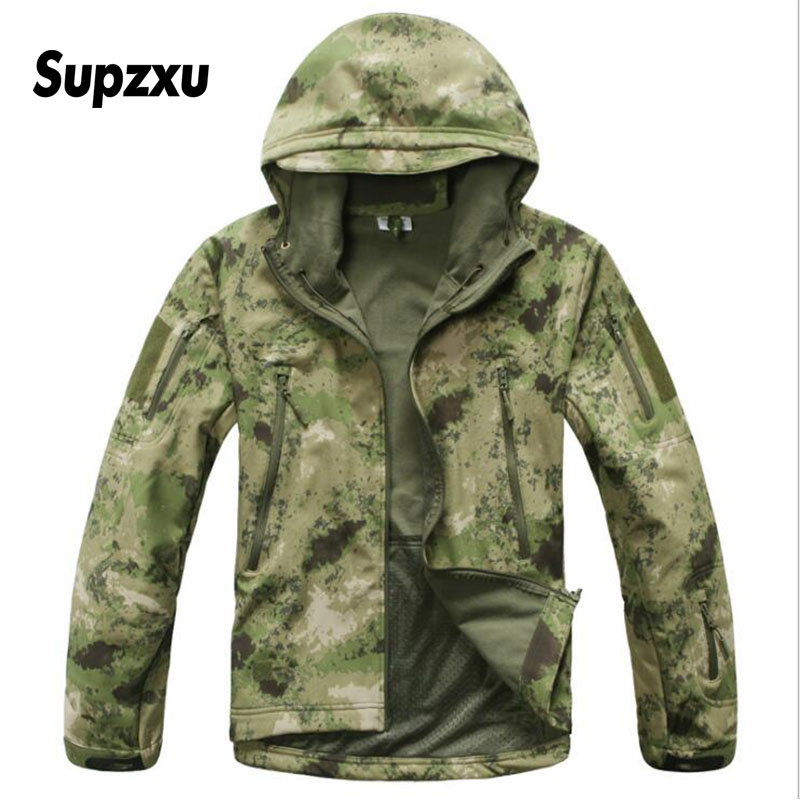 Dropshipping V5 Soft Shell Tactical Military Jacket Men Waterproof Winter Fleece Coat Camouflage Hooded Army Camo Clothing