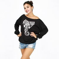 Punk Sexy Rock Female Tops Long Sleeve Slash Neck Women Blouse Printing Animal Elephant Shirts Off