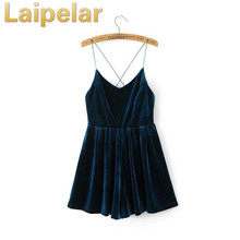 Laipelar Sexy V neck club party dress backleess velvet vestidos de fiesta for evening European fashion formal