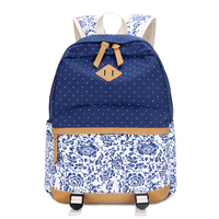 Dark Blue Floral Fabric Elementary School Backpack Fashion Printing Backpack For Girls School Bags Dots Backpacks