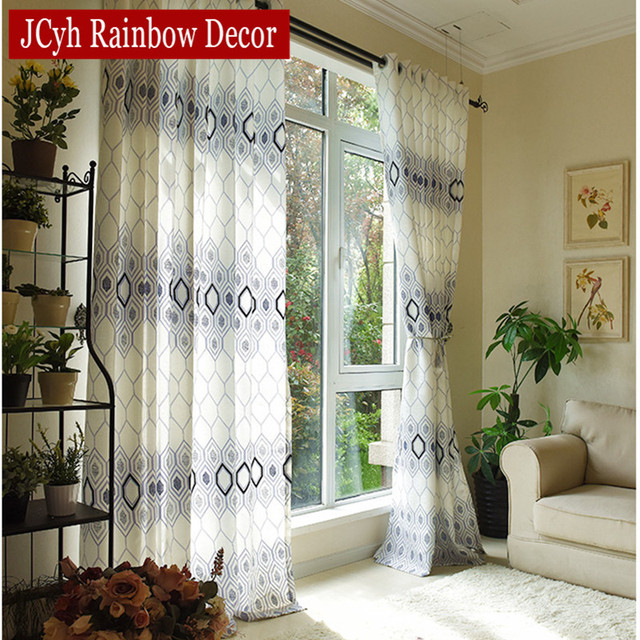 Plaid Window Blackout Curtains For Living Room Bedroom Luxury Kitchen Fabric White Blinds Voile