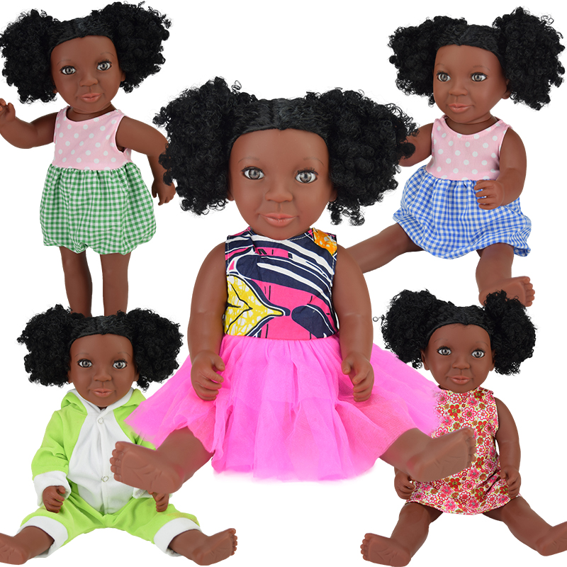 cute black 17inch baby dolls lol reborn boneca Rapunzel silicone toys girls gifts children newborn Christmas princess lifelike