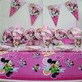 Девушки с днем рождения украшение 10 человек использования 91 шт. минни дизайн большой партии набор посуды блюдо бумаги соломы чашки баннер т. д.