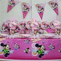 girls happy birthday decoration 10person use 91pcs minnie design big party set tableware set paper dish cup straw banner ect