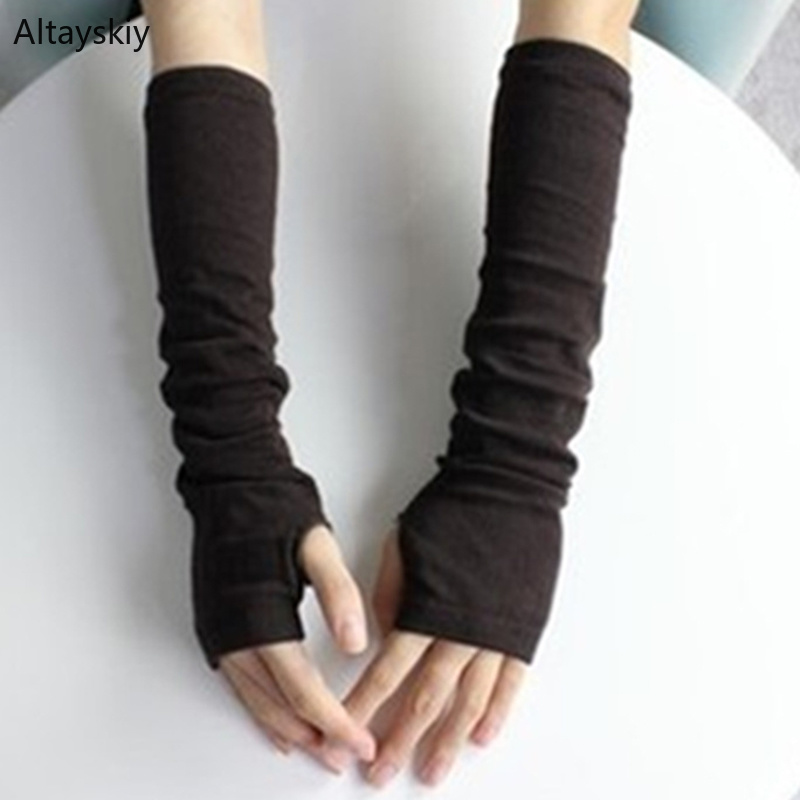 Arm Warmers Women Winter Warm Knitted Trendy Leisure Sweet Long-sleeved Womens Elegant Ladies Fingerless Outdoor All-match Solid