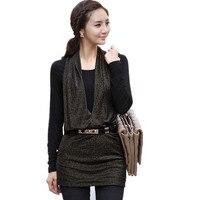 Spring Autumn Plus Size T Shirt Femme Loose Long Sleeves Sashes Tshirt Women S Fake Two
