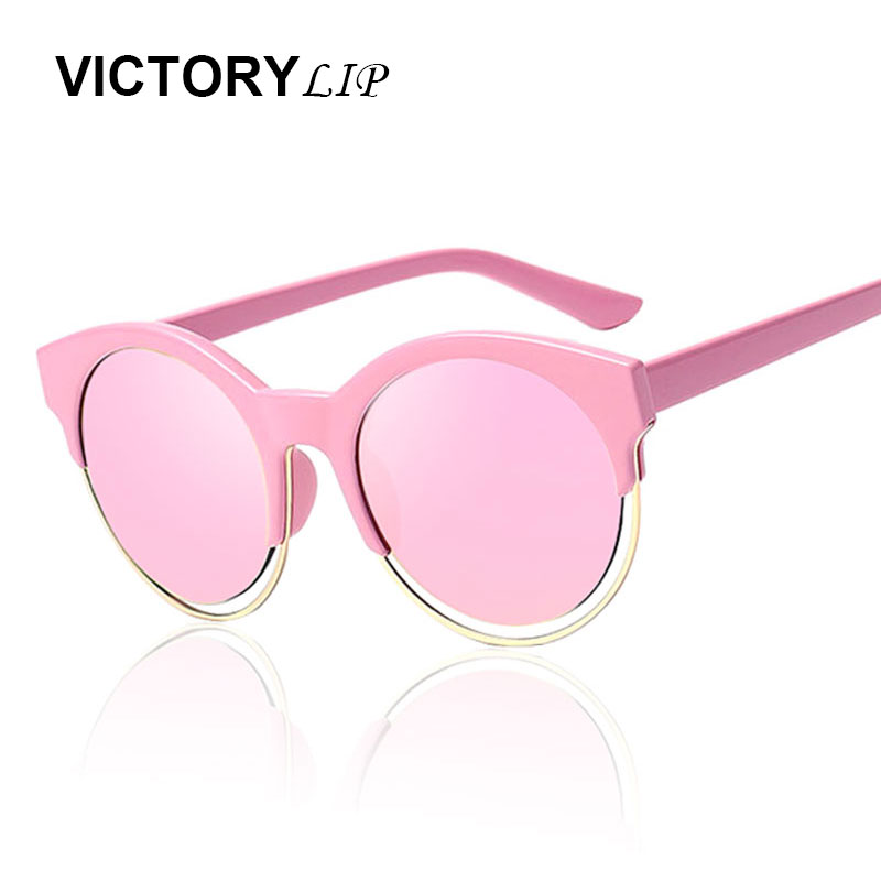 VictoryLip Cat Eye Sunglasses Brand Designer Round Sunshades Semi-Rimless Women Fashion Celebrity Mirror Lady Sun Glasses
