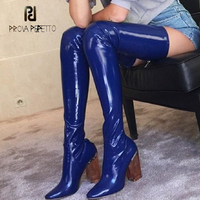 Prova Perfetto clear crystal transparent high heel women thigh high boots sexy pointed toe stretch patent leather over knee boot