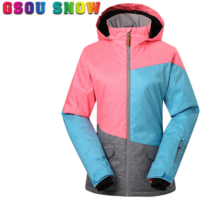 Gsou Snow Women Ski Jacket Waterproof 10000 Breathable 10000 Professional Snowboard Jacket Female Outdoor Patchwork Ski Clothes gsou snow ski jacket women winter snowboard jacket waterproof 10000 breathable 10000 female warmth thermal sports ski clothes