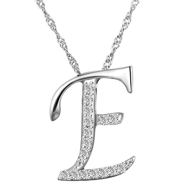 10pcslot new fashion crystal letter e pendant necklacesilver 10pcslot new fashion crystal letter e pendant necklacesilver letters necklace with free aloadofball