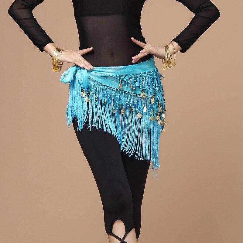 Mujeres cinturón bellydance bufanda cadera danza del vientre lentejuelas borla triángulo abrigo cinturón traje chal de gasa bufanda franja