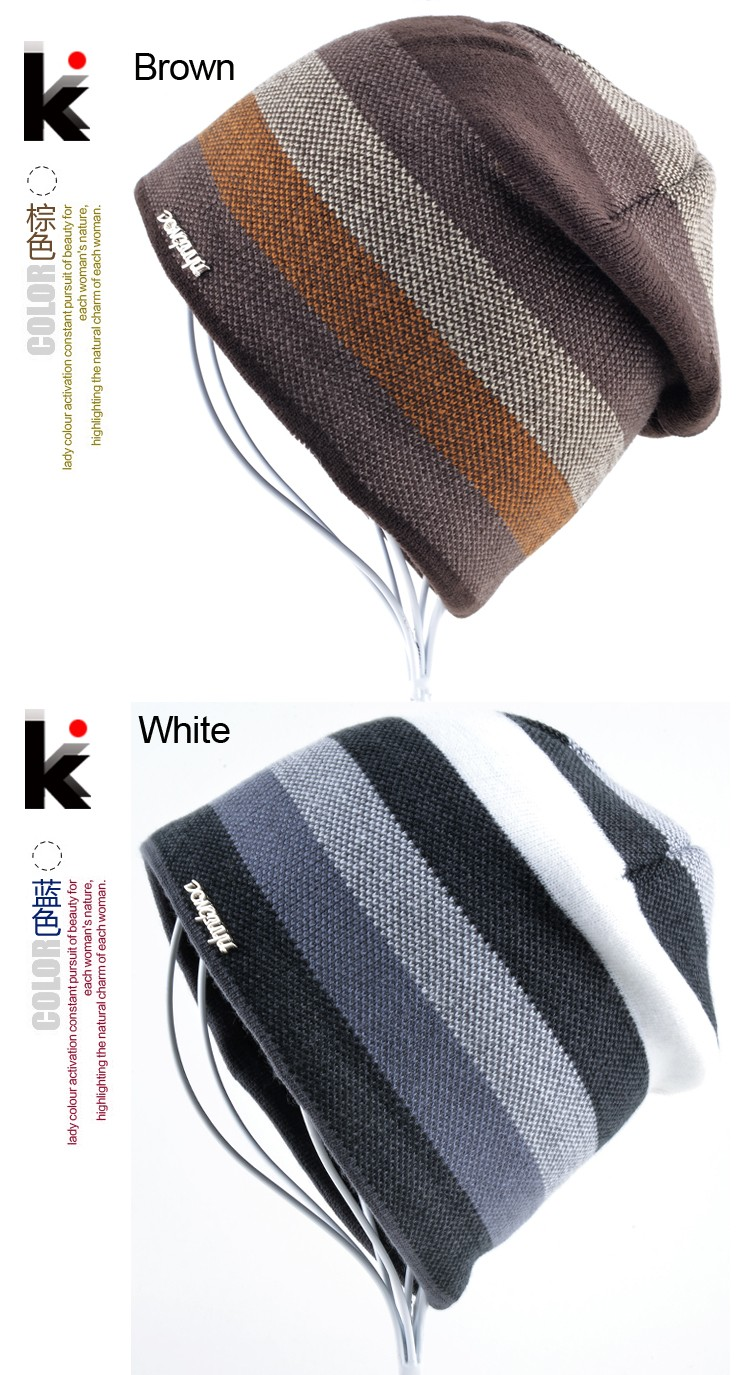 aeProduct.getSubject()  2018 Males's Skullies Hat Bonnet Winter Beanie Knitted Wool Hat Plus Velvet Cap Thicker Stripe Skis Sports activities Beanies Hats for males HTB13ne3LpXXXXc1aXXXq6xXFXXXs