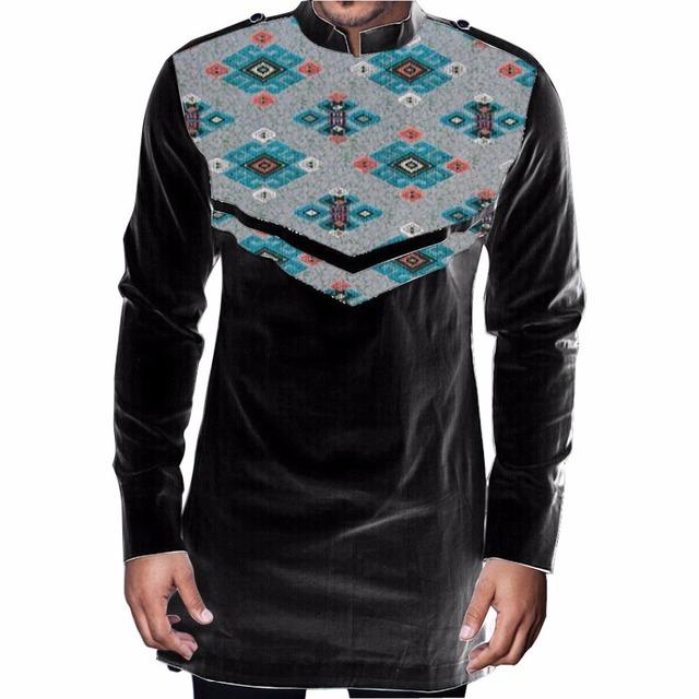 África impressão luva longa dos homens t-shirt roupas de moda homem camisa dashiki africano personalizado festival áfrica clothing