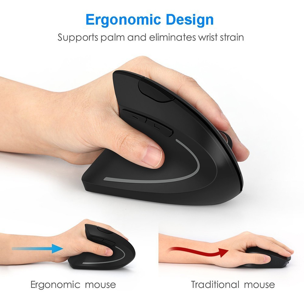 Left Hand Vertical Mouse Wireless Mouse Ergonomic 2 4G 800 1200 1600 DPI Optical Wrist Healing Left handed Mice For Laptop PC in Mice from Computer Office