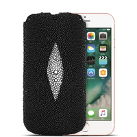 Fashion Genuine Pearl fish Stingray Skin Leather Case For iPhone 8/ 8 Plus/ 7/ 7 Plus/ 6 6s/ Plus Luxury Flip Pouch Bags Cases