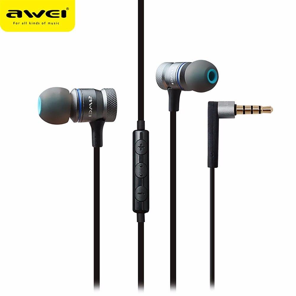 Awei ES-70TY auricular con micrófono Metal Auriculares con cancelación de ruido Auriculares estéreo Super Bass Auriculares