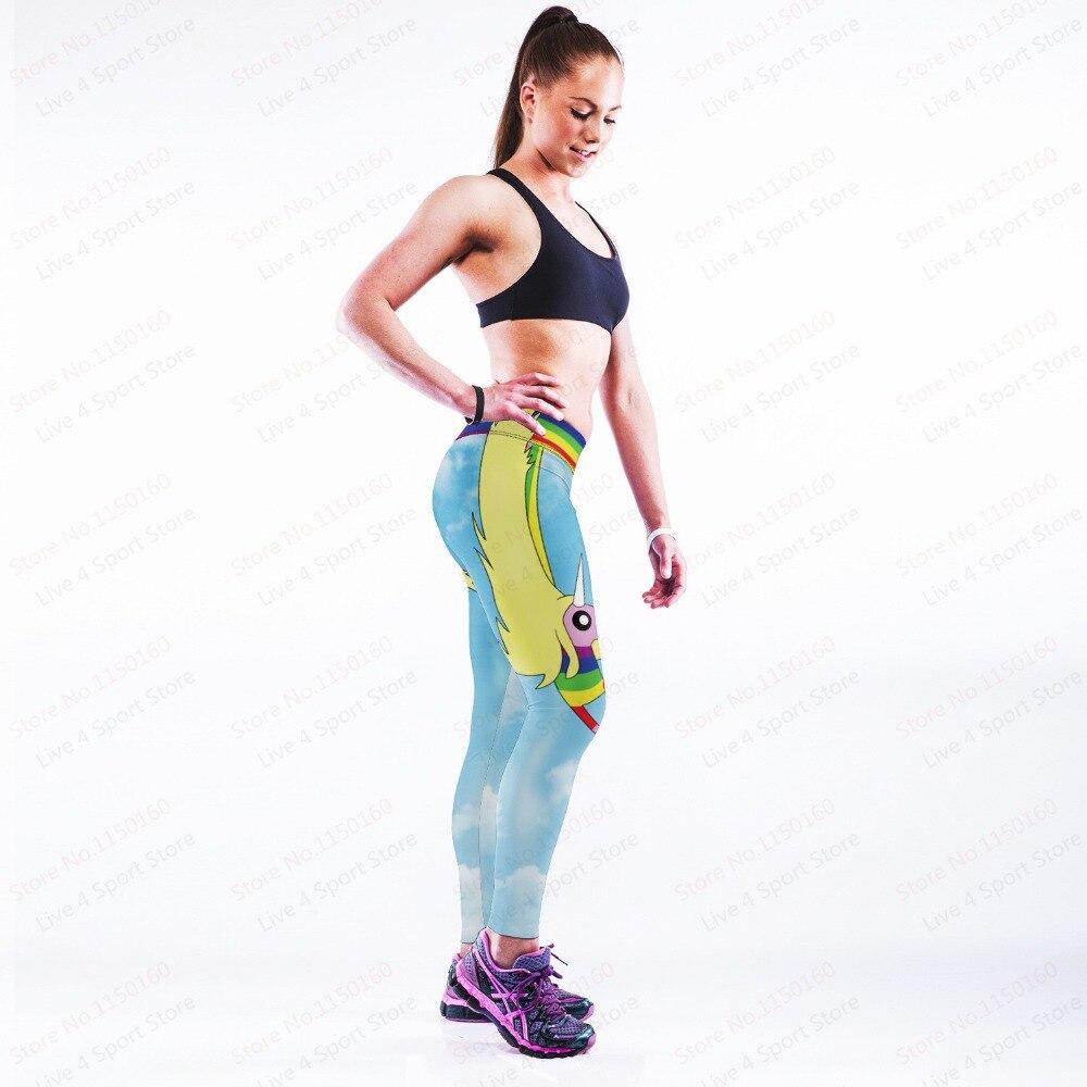 Rainbow Sports Yoga Pants Unicorn Female Sport Light Blue