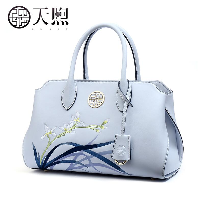 Pmsix2018 High-quality luxury fashion high-grade cowhide new fashion orchid embroidered handbag leather shoulder bag wild art ba