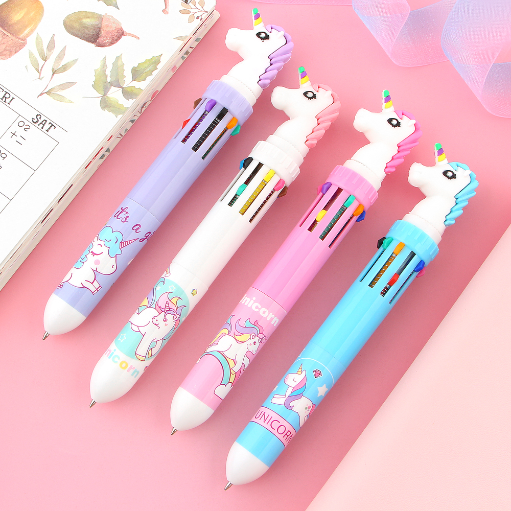0.5mm 10 Colors In 1 Ballpoint Pen Kawaii Unicorn Silicone Press Ball Pen Girls Writing Gifts Office School Stationery Supplies In Many Styles Office & School Supplies Pens, Pencils & Writing Supplies