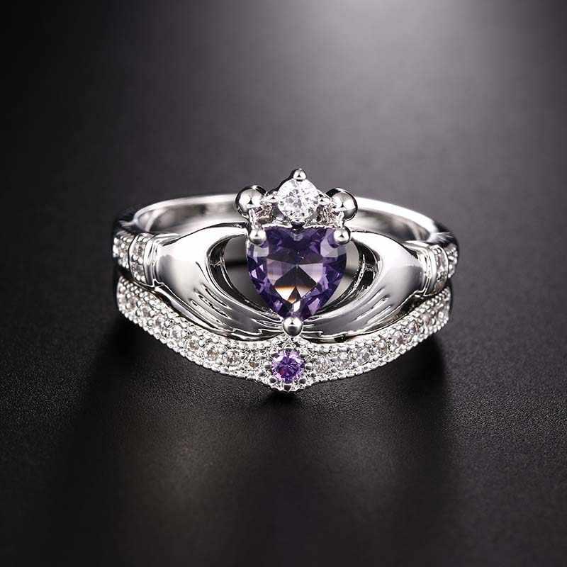 יוקרה תכשיטים טבעת סט מחזיק את נוצר סגול קריסטל אהבת לב מעוקב Zirconia קראון חתונה טבעת סטי Bague Homme