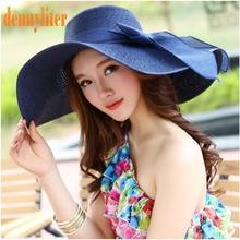 DENNYLITER Summer Hat Women 2017 New Foldable Wide Large Brim Beach Hat Elegant Straw Beach Cap Sun Visor Hat Girl Summer Hat