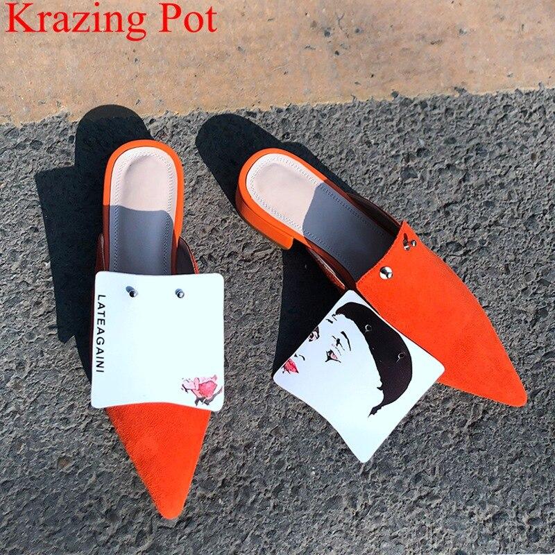 2019 superstar genuine leather med heels slip on casual mules pointed toe slingback rivet novelty brand