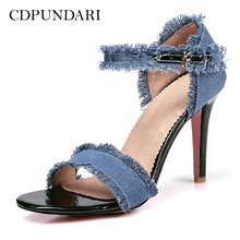 8a7b123d857 CDPUNDARI Denim Ankle Strap High heel Sandals Women summer shoes woman (China)