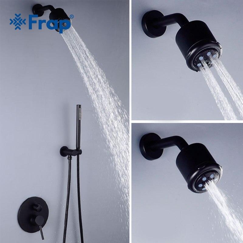 FRAP salle de bain robinet de douche en laiton ensemble noir pluie douche mitigeur chrome baignoire robinet cascade bain douche Y24022