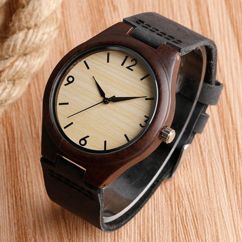 Classical Nature Bamboo Watch Mens Women Wristwatch Quartz Wood Watches with Genuine Leather Unique Handmade Clock Hours Gifts yisuya simple fold clasp quartz wristwatch handmade bamboo analog women creative watches men bangle nature wood relogio gift
