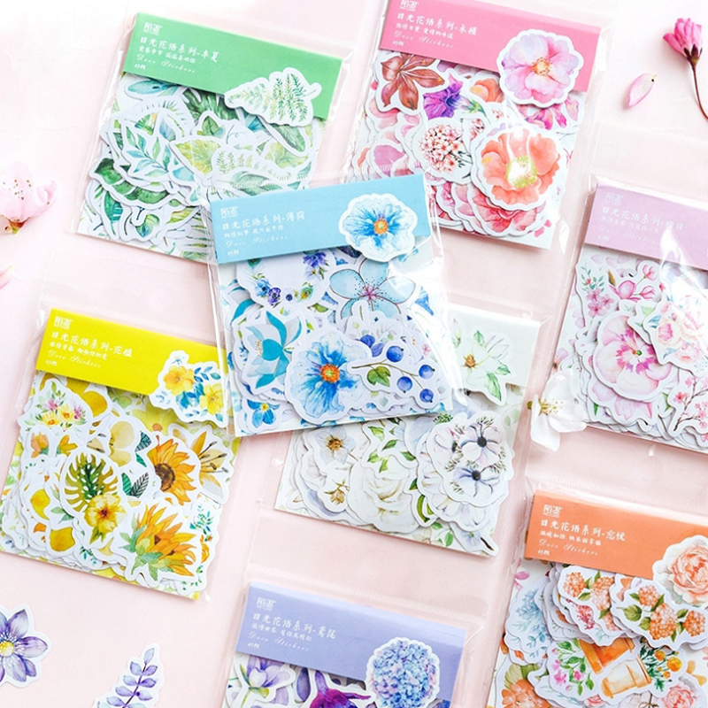 45 pcs/bag sun flowers series paper sticker decoration diy scrapbooking Gift bag sealing sticker children favorite stationery