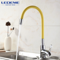 LEDEME Kitchen Faucet Pull Out Deck Mounted Single Handle Faucet Chrome Finish Cold Hot Water Mixer