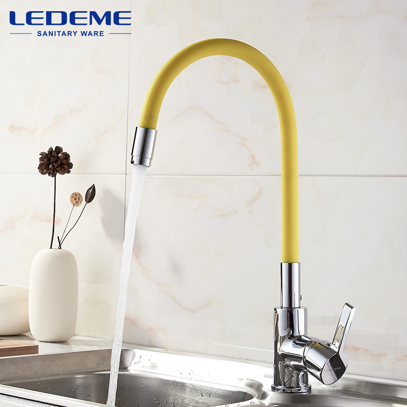 LEDEME Kitchen Faucet Pull Out Deck Mounted Single Handle Faucet Chrome Finish Cold Hot Water Mixer Kitchen Faucet L4898 -4 narcyz drinking water filter faucet deck mounted mixer valve chrome single hole purifier 3 way water kitchen faucet mixer xt 32
