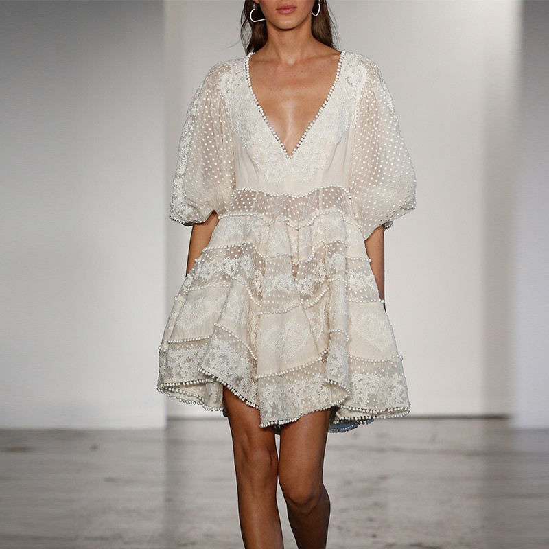 2bb4f6417c83a US $31.67 28% OFF  BLLOCUE High Quality Luxury Designer Runway Dress 2019  Summer Women's Sexy V Neck Bohemian White Lace Embroidery Mini Dress-in ...