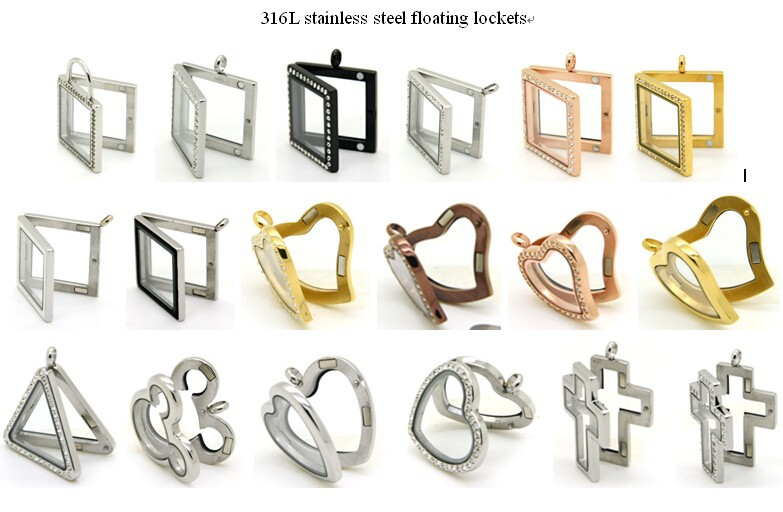 316L stainless steel floating lockets 1
