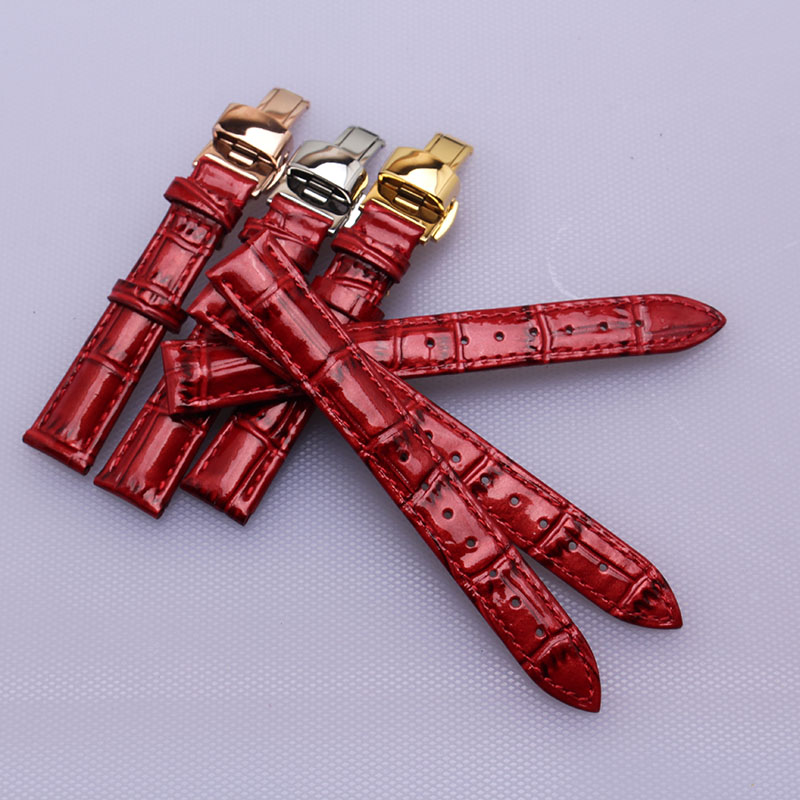 14 16 17 18 20 mm Lady Watch Strap for hours Bright Red Genuine Calf Leather Watchband butterfly new Deployment Buckle fashion